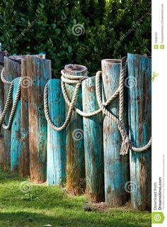 9 Creative Tips: Fence Planters Old Tires modern fence panels.Home Fence Design rustic fence front porches.Fence Decorations Tips. Backyard Beach, Backyard Fences, Garden Fencing, Backyard Landscaping, Rope Fence, Diy Fence, Fence Ideas, Gabion Fence, Pallet Fence