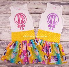Rainbow Ponies Yoga Waist Twirl Skirt and matching Glitter Monogram Tank Top