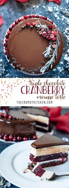 Triple Chocolate Cranberry Mousse Torte is a to-die-for addition to your holiday tables! Layers of milk chocolate brownie, creamy white chocolate mousse, and decadent dark chocolate mirror glaze encase a homemade cranberry jelly. Holiday Baking, Christmas Desserts, Christmas Baking, Christmas Holiday, Just Desserts, Delicious Desserts, Dessert Recipes, Desserts Jar, Chocolate Mirror Glaze