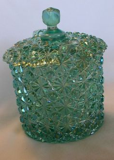 FENTON GREEN Blue CARNIVAL DAISY  BUTTON COVERED CANDY DISH  LID Sticker