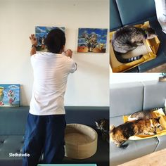 Throwback on the set-up day.  While we are busying with hanging the new paintings, cafe cats are also very busy playing with the wrapping paper, bag, box, almost everything that we brought inside the cat room 😂😅  More photos at: http://slothstudio.com/portfolio/happy-days/  www.slothstudio.com www.facebook.com/slothstudio