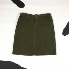 90s Calvin Klein / CK / Olive Green Corduroy Raw Hem Low Rise Skirt / Above The Knee / Y2K / Surfer / Grunge / Size 4 / Cotton / Paris / by badatpettingcats on Etsy