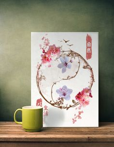 kanji cherry blossoms flowers nature chinese japanese yinyang yin yang balance life bird inspiration Paintings