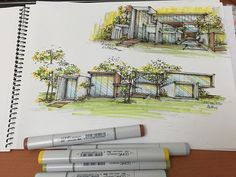 Architectural sketch of a dream home. Made with #Copic, of course.
