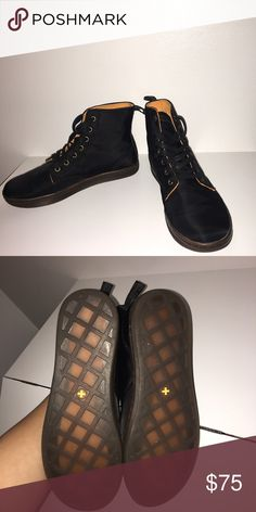 WORN ONCE Hi-top Black doc martins Warn once, very comfortable but I never wear them. Just not my style. I DO NOT TRADE. Please feel free to make an offer!! I am a broke college kid just looking for some extra cash to be able to afford food😅 I'll answer any questions you have and if you need me to post any more pictures, just ask😇 Dr. Martens Shoes Combat & Moto Boots