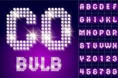 Disco lamp of 80s font with stars by popskraft on @creativemarket