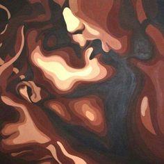 Kiss - painting, cm by adriana bogdanova - abstract art, canvas African American Art, African Art, Kiss Painting, Black Art Painting, Couple Painting, Black Art Pictures, Black Love Art, Afro Art, Dope Art