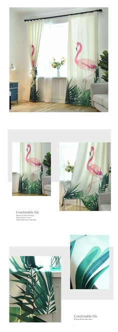 Modern And Elegant Flamingo Design Decorative Curtains comes in several sizes and process styles. #flamingos #pinkflamingos #flamingodesign #flamingoprint #flamingohomedecor #flamingodecor #windowtreatments #curtains #drapes #homedecor