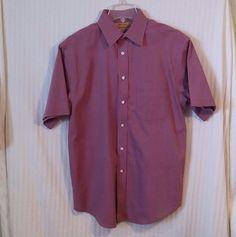Roundtree & Yorke Medium Red Pin Stripe Men's Short Sleeve Button Dress Shirt #RoundtreeYorke