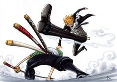 Roronoa Zoro and Sanji Otaku Anime, Anime Art, Zoro One Piece, One Piece Manga, Gaspard, 0ne Piece, Roronoa Zoro, Awesome Anime, Anime Shows