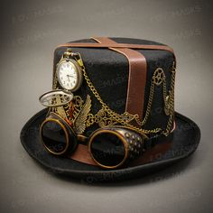 Steampunk Vintage Man Top Hat with Goggles and Pocket Watch for Steampunk  Cosplay. Steampunk Top 38e5c983d91c