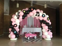 Theme Birthday Party Balloon Arch by Buggy's Balloon Decor. 1950s Theme Party, Fifties Party, 50s Theme Parties, Music Themed Parties, Diner Party, 50s Party Decorations, Party Centerpieces, Balloon Decorations, Grease Themed Parties