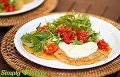 Herzhafte Pfannkuchen mit Rucola und Ofen-Tomaten | vegane Rezepte in Hauptgerichte