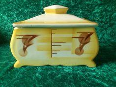 Art Deco Spritzdekor Keramik Deckeldose, Keksdose Bonbonjere Gebäckdose TOP   eBay