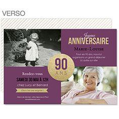 90è Anniversaire : invitation pailletée à créer pour fêter la star d'un jour #invitation #90ans