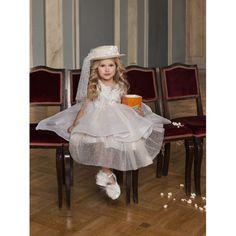 Dolce Bambini βαπτιστικό φόρεμα από τούλι και δαντέλα σε εκρού-μπεζ απόχρωση, Επώνυμα βαπτιστικά ρούχα για κορίτσι οικονομικά, Φόρεμα βάπτισης τιμές-προσφορά, Dolce Bambini βαπτιστικά ρούχα κορίτσι eshop