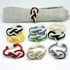 Figure Eight Infinity Knot Napkin Rings, Nautical Colors, Set of 4 - Mystic Knotwork nautical knot