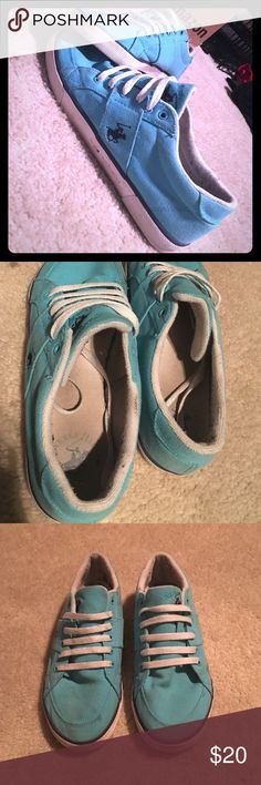 Beverly Hills polo club sneakers! SIMILAR TO RALPH LAUREN.  These are Beverly Hills polo club brand. Turquoise in color! Only worn a handful of times! Size 8.5! Love them just have too many pairs of shoes! TONS of wear left in them! Polo by Ralph Lauren Shoes Sneakers