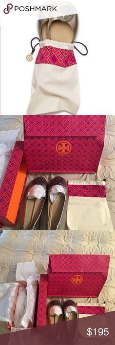 NWT TORY BURCH MINNIE TRAVEL FLAT GUNMETAL Fold. Pack. Go. The effortless chic and comfort of a flat, made packable. Crafted in lightweight, super-soft napa leather, it features a slip-resistant split rubber sole, layers of foam cushioning and stitch-and-turn construction — a special sewing technique that refines the seams. Finished with an elasticized back for a slipper-like fit and our iconic double-T logo, it's designed to fold up neatly into a tote or handbag. Included is a dust bag, box…