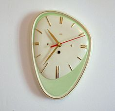 French 1950-60s Atomic Age LARGE SMI Green Wall Clock  Big