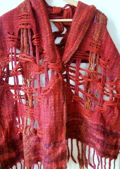 Sorcha Handwoven shawl scarf russet red rich by JustWeaving