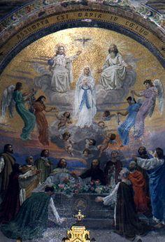 Mosaic of the Immaculate Conception, Rosary Basilica,Lourdes, France Catholic Prayers, Catholic Art, Catholic Saints, Catholic Churches, Patron Saints, Blessed Mother Mary, Blessed Virgin Mary, Pray In Spanish, Bernadette Lourdes