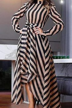 Product Elegant Striped Long Sleeve Stand Collar Maxi Dresses Brand Name streettide SKU Trendy Dresses, Elegant Dresses, Nice Dresses, Casual Dresses, Elegant Outfit, Casual Outfits, Summer Outfits, Dresses With Sleeves, African Fashion Dresses