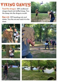 Viking Games - Feed the dragon (supplies: DIY cardboard dragon head and stuffed sheep). Toss the sheep into the dragon's mouth). Bag a rat game: (supplies: DIY beanbag rats and sheets) one team member tosses the rat and the other team members have to bag it (catch it) in a sheet.