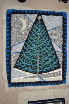 """Starry Field is a hand hooked rug called by Sally Mello. 28"""" X 35"""" $450. Congratulations to Sally who recently was juried into the Artisans Center of Virginia."""