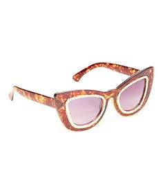 Tortoise Engraved Cat-Eye Sunglasses by I Love Accessories #zulily #zulilyfinds