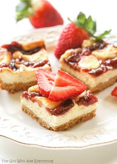 Strawberry cheesecake bars are perfect for summer parties!