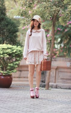 Jusco hat, romwe jumper, chicwish lace dress & retro suitcase, hare burgundy mary janes.