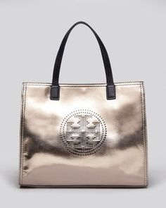 Tory Burch Tote - Metallic Small Perforated Logo East/West