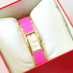 """NWT Kate Spade Live Color Fully Pink Enamel Watch A beautiful bangle in cheery Kate Spade pink! Approximately 8"""" around, clasp closure. No flaws! kate spade Accessories Watches"""