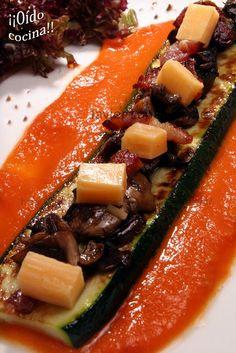 ¡¡Oído cocina!!: Calabacín con champiñones, panceta y queso