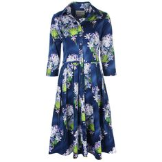 03d8feb399f1 Samantha Sung Audrey Dress - Nile Lilies Print in Indigo from Hunter Dunn