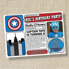 CAPTAIN SUPERHERO Comic Book Inspired Birthday Invitation - Captain America