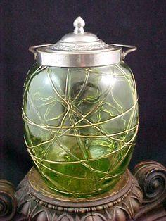 Antique Bohemian Kralik Green Art Glass Biscuit Jar w Applied HP Gold Threads | eBay
