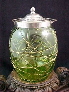Antique Bohemian Kralik Green Art Glass Biscuit Jar w Applied HP Gold Threads | eBay