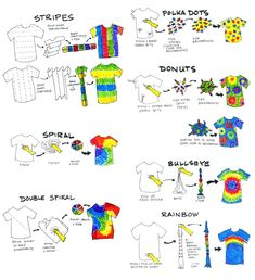 Apr 2016 - Spring is on it's way- what better way to celebrate then creating a cool tie-dye t-shirt? Your local craft store will have a tie-dye kit that includes the dyes as well as instructions on how … How To Tie Dye, Tie And Dye, Bleach Tie Dye, Tye Dye, Bleach Pen, Tie Dye Instructions, Diy Tie Dye Tutorial, Tie Dye Folding Techniques, Diy Tie Dye Shirts