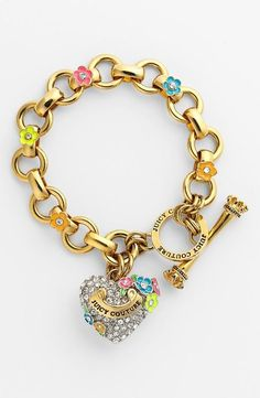 Love this Juicy Couture 'Blooming Hearts' Charm Bracelet! Cute Jewelry, Jewelry Accessories, Fashion Accessories, Fashion Jewelry, Geek Jewelry, Gothic Jewelry, Juicy Couture Charms, Juicy Couture Jewelry, The Bling Ring