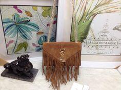 2015 New Saint Laurent Bag Cheap Sale- Saint Laurent Classic small MONOGRAM SAINT LAURENT fringed satchel in Oak Suede