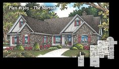 The Norton, plan #1305 www.dongardner.com - The kitchen is the heart of this home, with its breakfast bar and open view of the great room. The dining room lies just off the kitchen and is surrounded by windows on three sides, while the great room opens out to a cozy screen porch with skylights. The master suite also has porch access, and includes his-and-hers walk-in closets and a well-appointed master bath. Ample storage space throughout the home helps keep things organized. #FloorPlans
