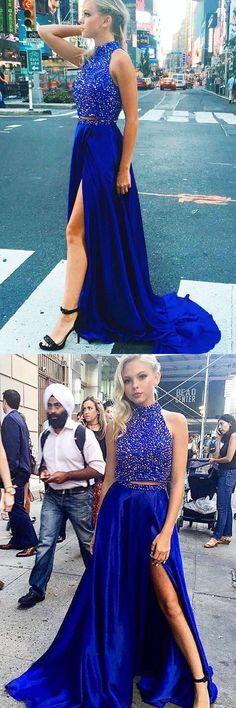 Jordyn Jones-prom dresses, 2017 prom dresses, sparkling 2 pieces party dresses, elegant split prom party dresses, fashion, women fashion