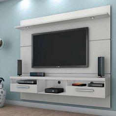 Painel para TV Toledo com Led Branco Tv Unit Furniture, Furniture Design, Living Room Tv, Tv Unit Furniture Design, Furniture Design Living Room, Cool Tv Stands, Home Engineering, Living Room Entertainment, Tv Room Design