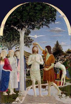 El bautismo de Cristo (Battesimo di Cristo) Piero della Francesca, h. 1450 Temple sobre tabla • Renacimiento 167 cm × 116 cm National Gallery de Londres, Londres, Flag of the United Kingdom. Reino Unido.