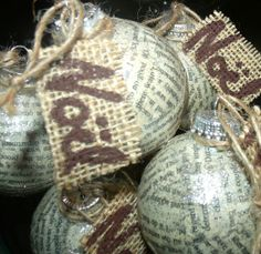 3 Noel sparkly book paper covered ornaments by LynnsMill on Etsy, $20.00