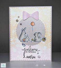 Laura | Mama Elephant #mamaelephant #newfamily #rabbit #baby #distressink #allprettiedup #babygirl #dopic #creative #handmade #coloring #crafty #cardmaking #lbcardcreations