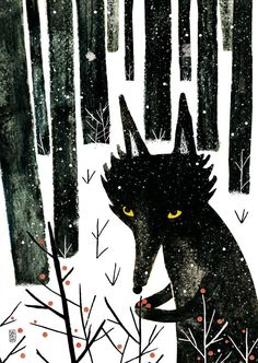 Winter Wolf on Behance, by Carmen Saldana Art And Illustration, Watercolor Illustration, Woodland Animal Nursery, Woodland Animals, Winter Wolves, Wolf Painting, Art Graphique, Photo Instagram, Conte