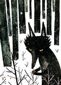 Winter Wolf on Behance, by Carmen Saldana Art And Illustration, Watercolor Illustration, Winter Wolves, Woodland Animal Nursery, Woodland Animals, Wolf Painting, Art Graphique, Photo Instagram, Conte